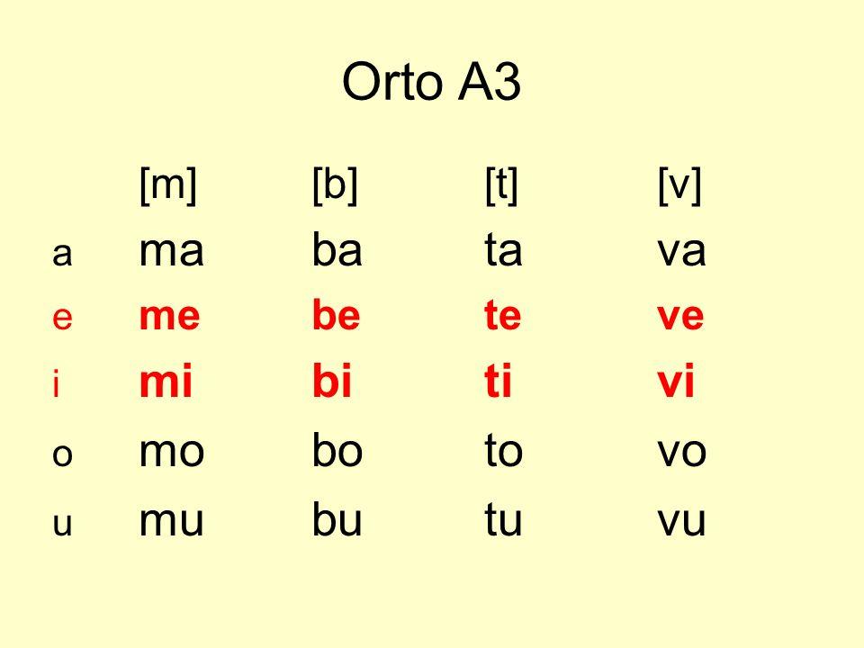 Orto A3 [m] [b] [t] [v] a ma ba ta va e me be te ve i mi bi ti vi